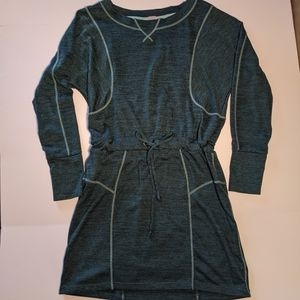 ATHLETA Give It Your All Long Sleeve Dress Green